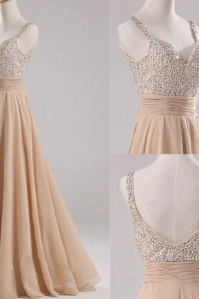 Custom Made A Line Floor Length Prom Dresses, Backless Prom dress,Long Formal Dresses,beaded prom dress