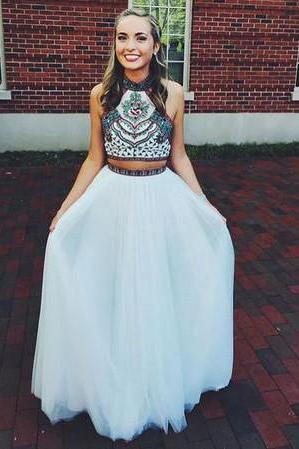 Embroidery Two Piece White Prom Dresses,Two Pieces Pageant Gowns