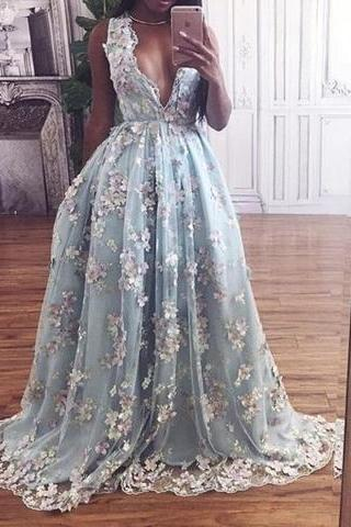 Hot Selling Deep V-neck Light Sky Blue Prom Dress with Flowers
