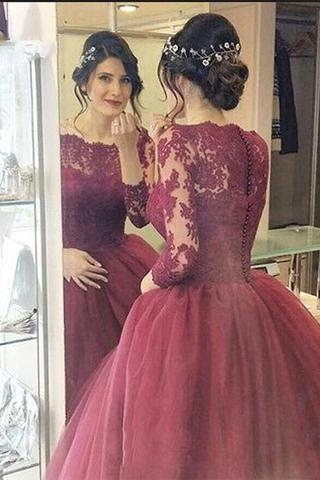 Cheap Burgundy Evening Prom Dresses , Lace Three Quarter Sleeve Ball Gown Prom Dress, Elegant Long Prom Dresses