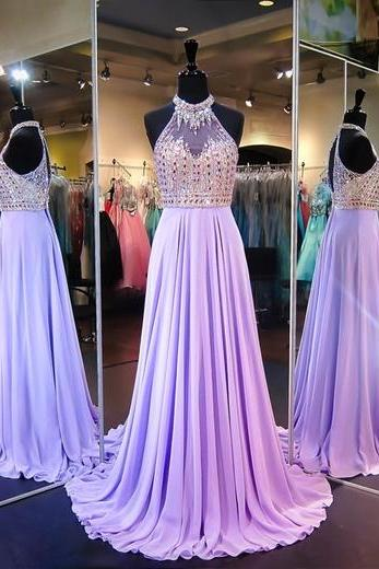 A Line Cowl Neck Sleeveless Open Back Long Prom Dress with Beading