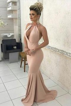 Sexy Halter Long Jersey Nude Pink Prom Dresses Backless Evening Gowns