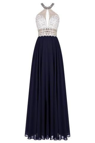 Gorgeous Long Halter prom dress, Open Back prom dress,Floor Length A-Line Chiffon prom dress,Beading Prom Dresses
