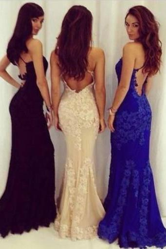 Hot Sexy Mermaid Backless Long Prom Dress with Lace