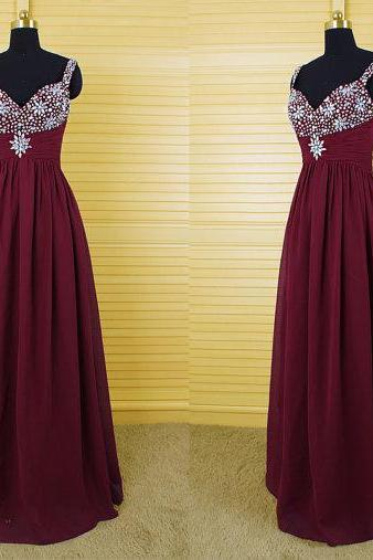 Beaded Embellished Burgundy Chiffon Sweetheart Shoulder Straps Floor Length A-Line Prom Dress, Evening Dress