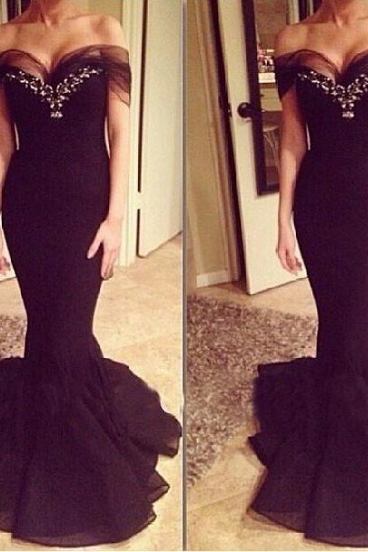 Mermaid prom dress, elegant prom dress, charming prom dress, sexy prom dress, unique prom dress, evening prom gown, cheap prom dress, black prom dress, unique prom dress