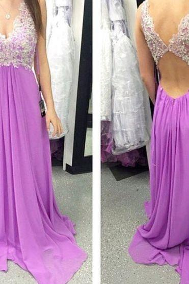 Prom Dresses,Evening Dress,Long Prom Dress,Charming Prom Dress,Chiffon Prom Dress,Appliques Prom Dress,Backless Evening Dress
