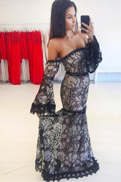 Mermaid Black Long Sleeves Lace Off the Shoulder Sweep Train Prom Dress