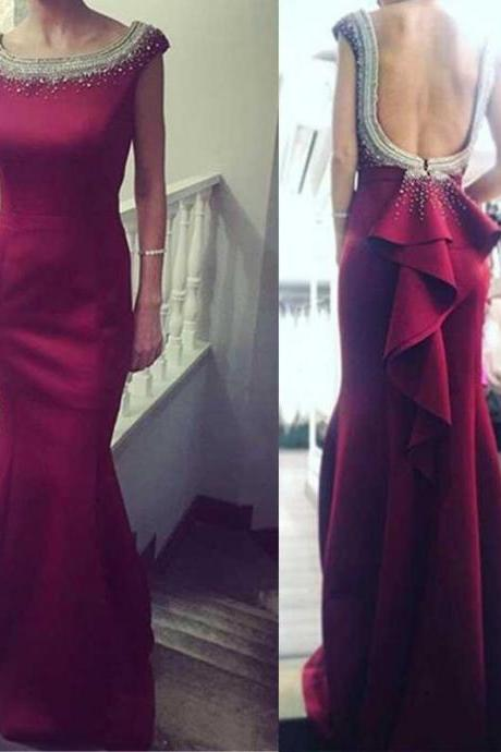 Red Round Neckline Mermaid Evening Prom Dresses, Beaded Party Prom Dress, Custom Long Prom Dresses, Cheap Formal Prom Dresses