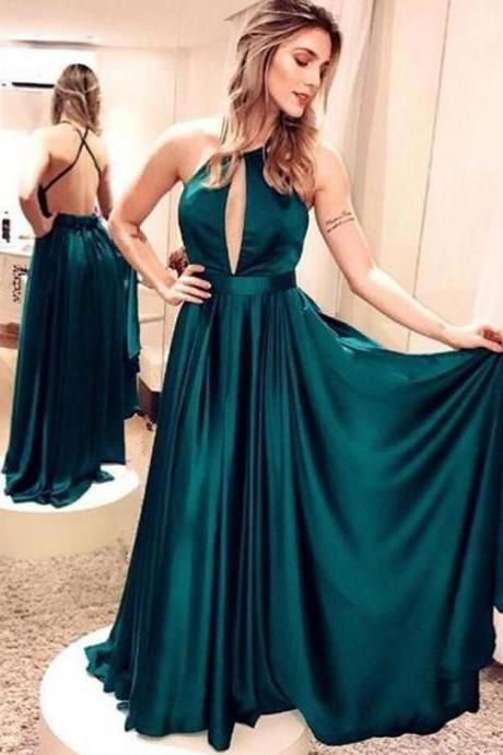 Beauty Emerald Green Prom Dress,Cheap Long Evening Dresses ,Simple Backless Maxi Gowns