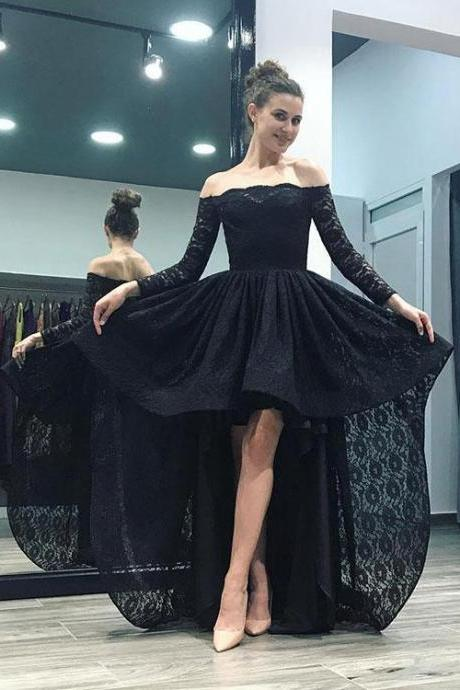 Black lace high low long sleeve prom dress, black evening dress