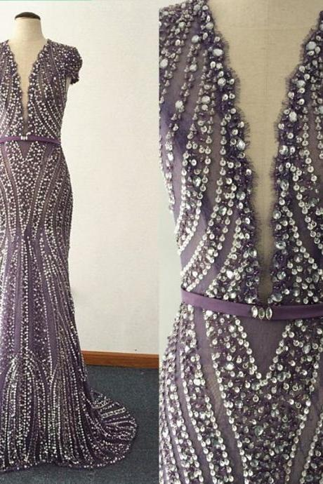 Cheap prom dresses,Sheer Backless Evening Dresses 100% REAL IMAGE Mermaid Champagne Beading Sequins Sexy Prom dresses Formal Dress Custom made