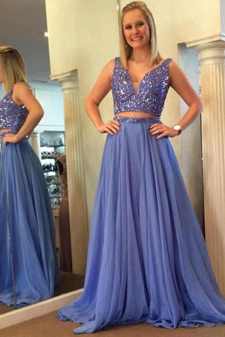OUTFIT PROM DRESS, A-LINE CHIFFON BEADING LONG LIGHT BLUE PROM DRESS EVENING DRESS