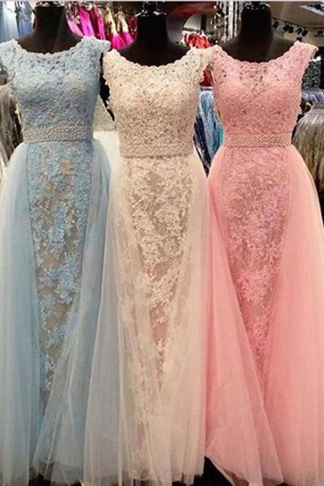GORGEOUS APPLIQUES PROM DRESS, LONG CHIFFON TULLE PROM DRESS/EVENING DRESS