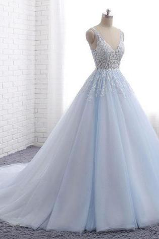 Blue tulle long V neck customize halter evening dress, senior prom dress
