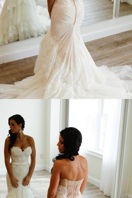 Wedding Dresses,Mermaid Ivory Lace Sweetheart Long Wedding Dresss,Elegant Wedding Dress,Wedding Gowns,Bridal Dresses,Dresses For Wedding,Bridal Gowns
