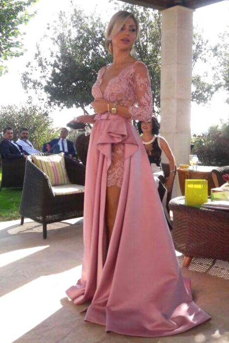 Deep V Neck Long Lace Sleeves Satin Prom Dresses with Ruched Slit,prom dress