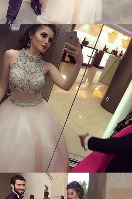 Two Piece Ball Gown High Neck Beaded Rhinestone Long Prom Dress