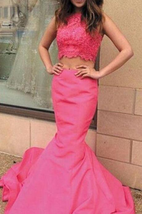 Elegant Two Piece Prom Dress, Rose Red Mermaid Cowl with Beaded prom dress