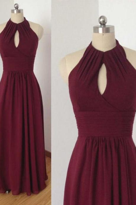 Burgundy Prom Dress with Keyhole, Long Prom Dress, Prom Dress with Halter, Chiffon Prom Dress, Long Prom Dress