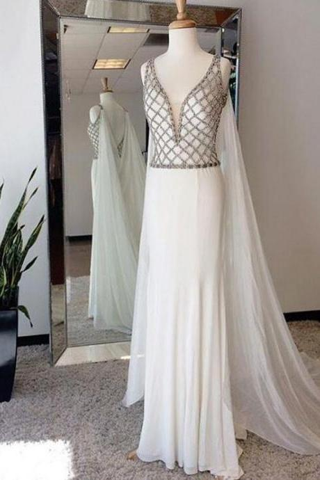 Affordable White Beaded Top V Neck Evening Long Prom Dresses