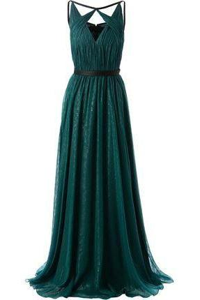 long chiffon prom dress,dark green prom dress,evening dress
