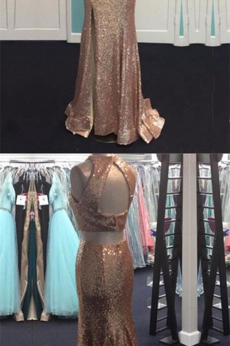 rose gold sequin mermaid prom dress,two piece prom dress,sequin evening gowns,2 piece prom dress,sexy prom dresses 2018