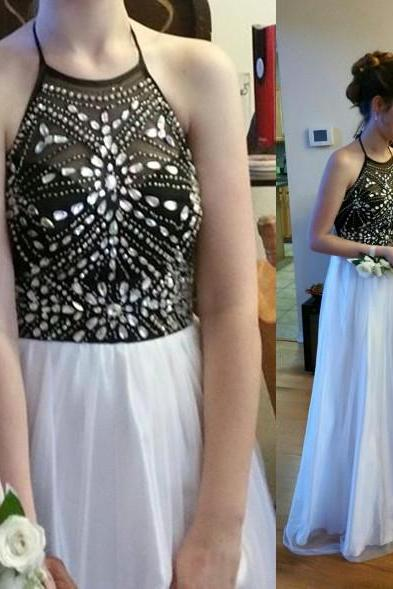 Halter Prom Dress,Sparkle Prom Dress,Beaded Prom Gowns,White and Black Party Dresses,Beaded Evening Dress,Sparkle Formal Dress,Custom Party Dress