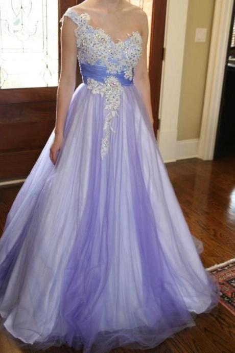 Charming Prom Dress,Tulle Prom Dress,Appliques Prom Dress,One-Shoulder Evening Dress