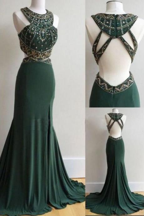 Dark Green Open Back Long Mermaid Prom Dresses with Beaded