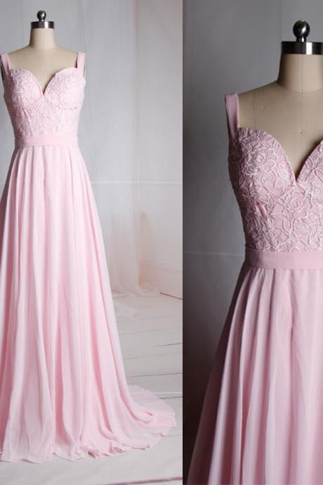Charming Prom Dress,Pink Chiffon Prom Dresses,Elegant Lace Evening Dress