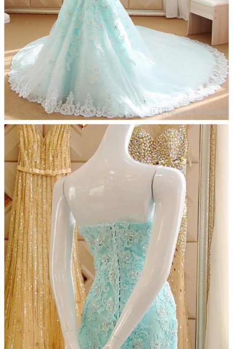 Sexy Sweetherat Prom Dress,Mermaid Evening Dresses Applique Beading Prom Dresses