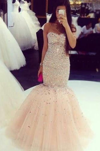 Champagne Prom Dresses,Tulle Prom Dress,Sexy Prom Dress,Mermaid Prom Dresses