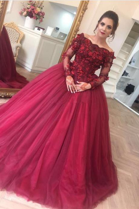 long sleeves prom dress,ball gowns prom dress,burgundy wedding dress
