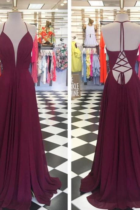 v neck prom dress,cross back prom dress,slit dress,sexy long evening gowns,chiffon prom dress