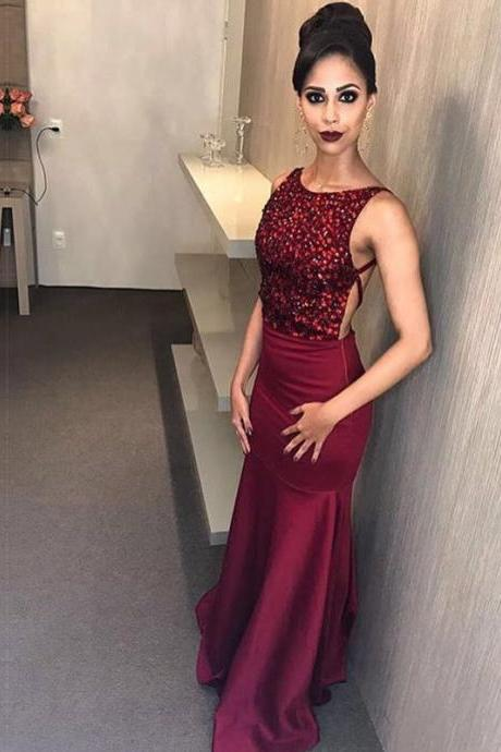 burgundy prom dress,mermaid prom dress,mermaid evening dress,crystal evening gowns