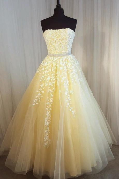 Yellow Prom Dress,Ball Gowns Prom Dress,Lace Dress,Prom Gowns 2017,Strapless Prom Dress,Formal Evening Dress