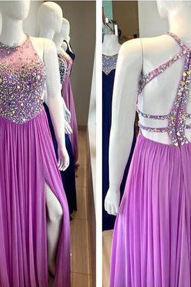 Prom Dress,Halter Prom Dress,Beading Prom Dress,Chiffon Prom Dress,A-Line Evening Dress,Purple Beading Evening Dress