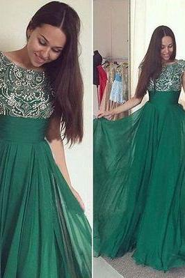 Prom Dress,O-Neck Prom Dress,Beading Prom Dress,Chiffon Prom Dress,A-Line Evening Dress,Green Prom Dress,Heavy Beaded Prom Gown