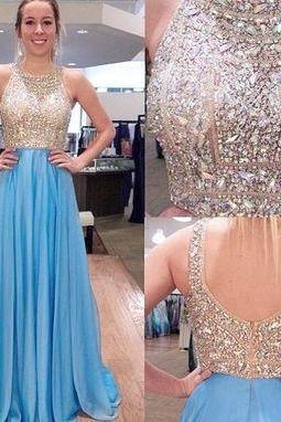 Prom Dress,Beading Prom Dress,A-Line Prom Dress,Chiffon Evening Dress,Heavy Beaded Prom Dress
