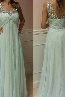 Handmade Pretty Long Mint Beaded Prom Dresses Evening Gown,Party Dress,A Line Mint Prom Dress