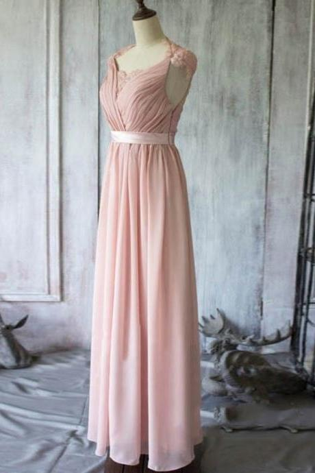 Elegant Pink Long Prom Dress Evening Dress