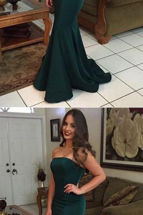 Green Mermaid Strapless Backless Simple Cheap Long Prom Dresses