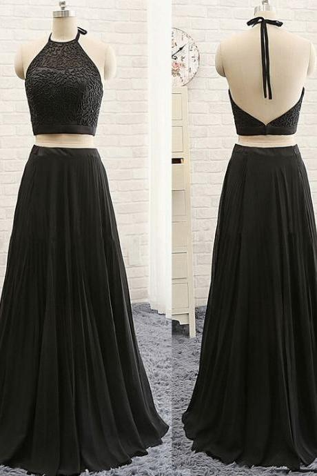 Charming Prom Dress,Two Pieces Prom Dress,Halter Prom Dress,Noble Evening Dress