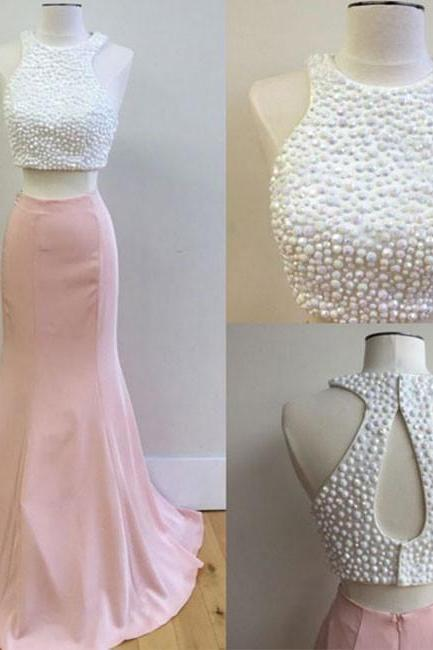 Custom Made White Crystal Beading Two-Piece Floor Length Mermaid Prom Dress
