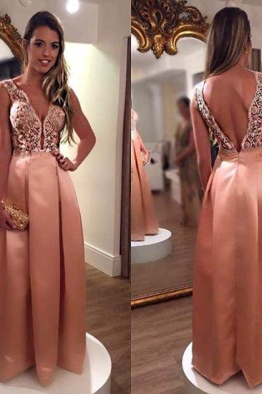 Sheer Lace Bodice Prom Dress