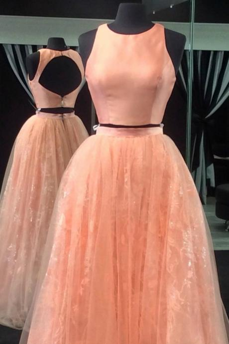 Two Pieces O-Neck A-Line Prom Dresses,Long Prom Dresses,Cheap Prom Dresses, Evening Dress Prom Gowns, Formal Women Dress,Prom Dress