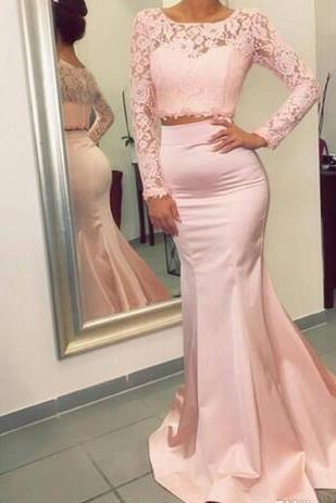 Gorgeous Long Sleeves Two Pieces Prom Dresses 2018 New Hot Mermaid Evening Gowns with Appliques Stretchy Long Train Party Wear Gowns D30013