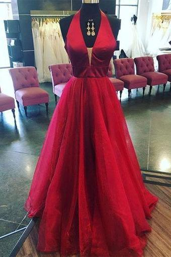 Sexy A-Line Halter Deep V-Neck Red Tulle Floor-Length Prom/Evening Dress D30023