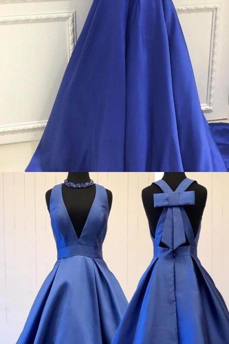 Charming A-Line V-Neck Sleeveless Royal Blue Long Prom Dress With Bowknot D30061